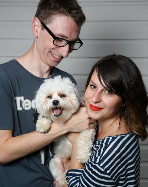 Pet parents Nick Friesen and Jen Zoratti with Samson.