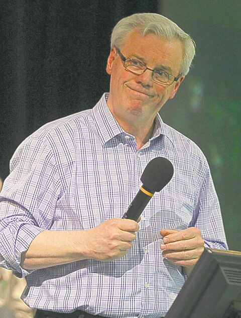 Premier Greg Selinger takes the mic Friday evening at the Keystone Centre.