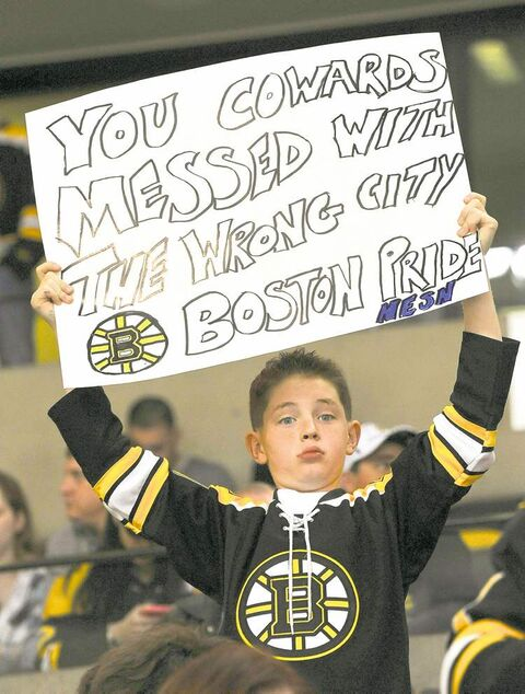 Owen Halley, 10, was one of many Boston fans who put a defiant attitude on display at the TD Garden Wednesday night.