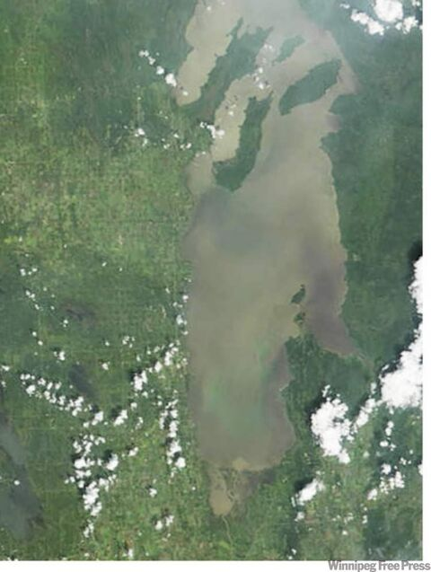 Aerial photo showing algae blooms on Lake Winnipeg in 2010.