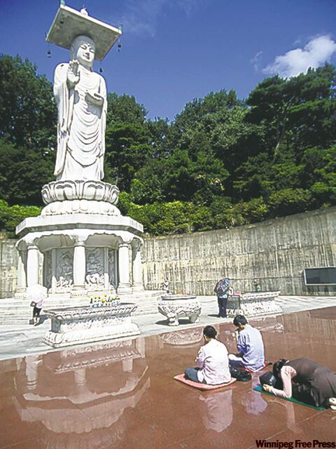 The country's largest stone Buddha statue is at Bongeunsa Temple in Seoul.