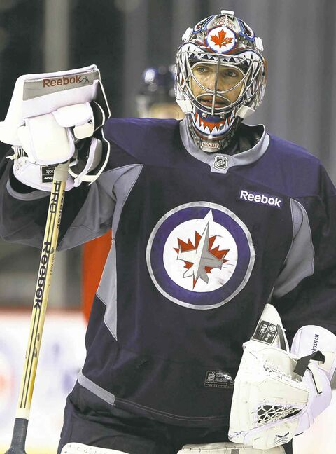 Jets' No. 2 goalie Al Montoya at Monday's workout. He was brilliant Sunday night.