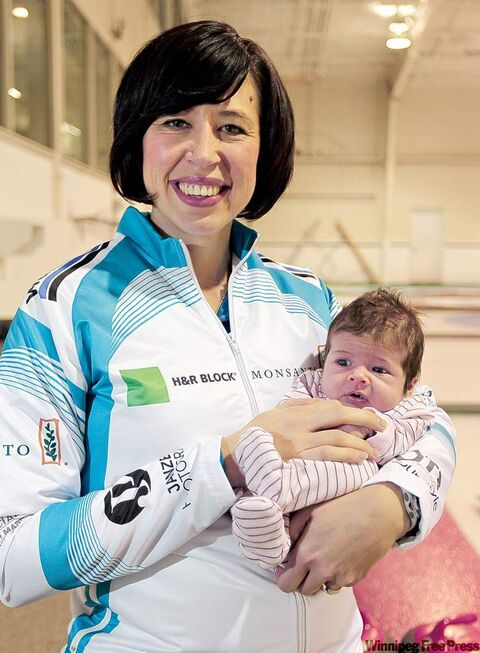 Jill Officer and her 4 week old daughter Camryn, at the Wildewood Curling Club,, January 13, 2012. Officer hit the ice for the first time to practice following the birth of her daughter. (TREVOR HAGAN/WINNIPEG FREE PRESS)