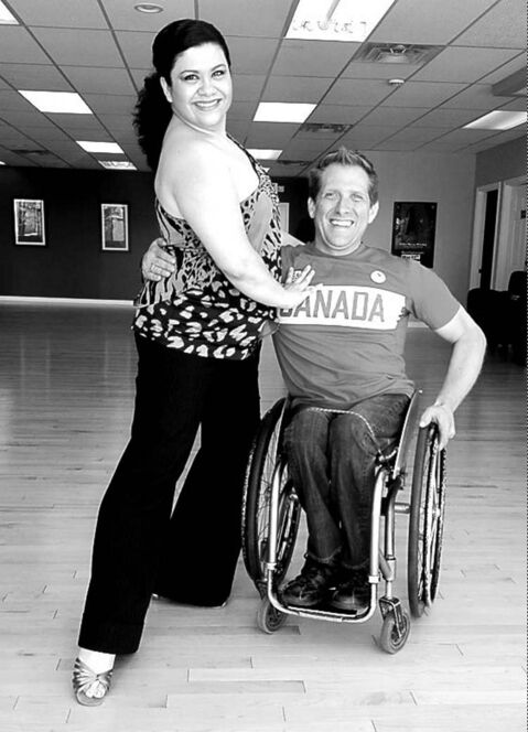 Dance studio co-owner Alicia Cascaval with samba partner Colin Mathieson, a Paralympian.
