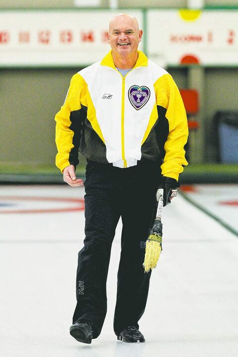 Kerry Burtnyk was in good spirits after throwing the first rock during the opening night at the MCA Bonspiel Thursday.