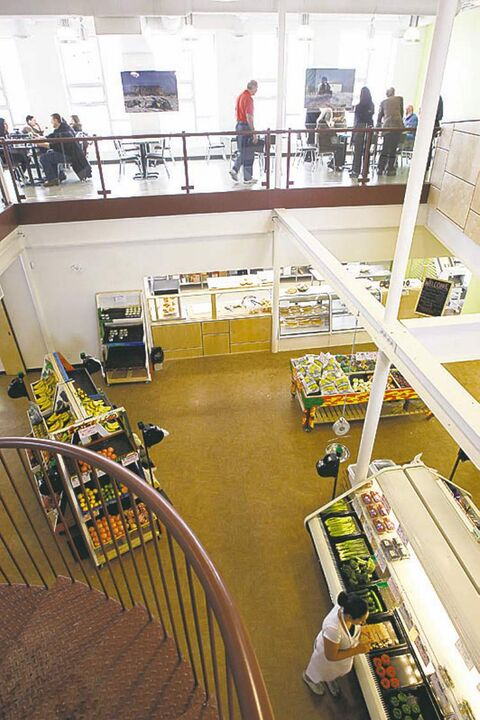 A view from the second floor at the Neechi Commons Community Business Complex.