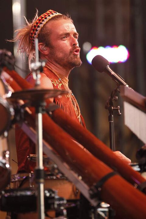 Xavier Rudd performs on the mainstage Sunday evening to close out the final day of the 40th edition of the Winnipeg Folk Festival.