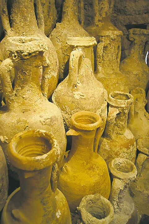 A collection of ancient clay amphoras was recovered from a shipwreck in Vis bay in Vis, Croatia. The haul, photographed in 2011, forms the centerpiece of the island's Archeological Collection.
