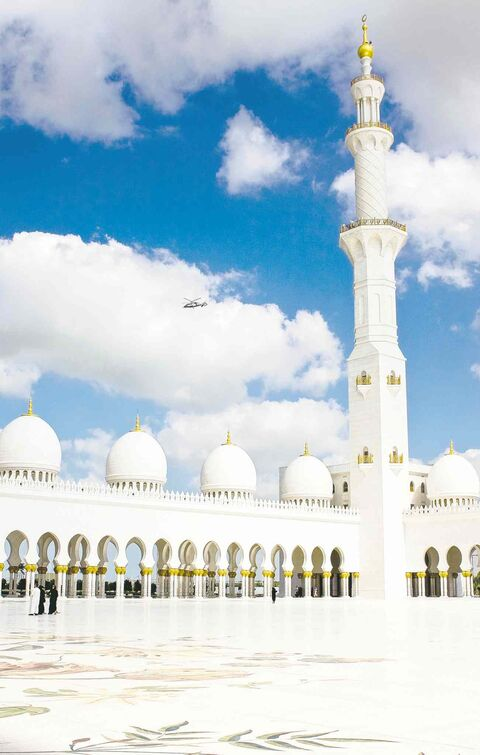 The inner courtyard of Sheikh Zayed Mosque of Abu Dhabi.