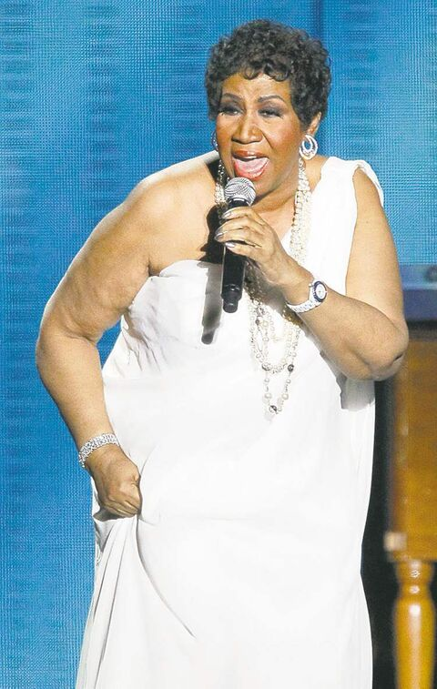 FILE - In this Tuesday, May 17, 2011 file photo, Aretha Franklin performs during a star-studded double-taping of
