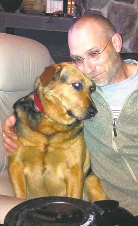 Rob Shura with Pippin, who got caught in a trap at Grand Beach and died.