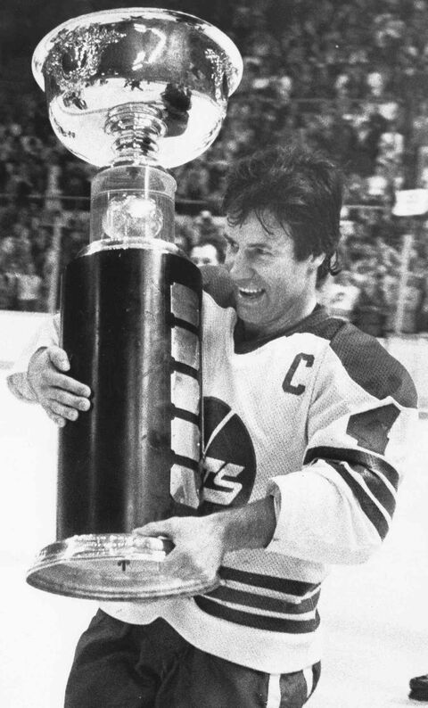 Lars-Erik Sjoberg carries the Avco Cup after the Jets beat the Edmonton Oilers 7-3 to capture the final WHA championship four games to two in Winnipeg, Manitoba, in this May 20, 1979 photo.