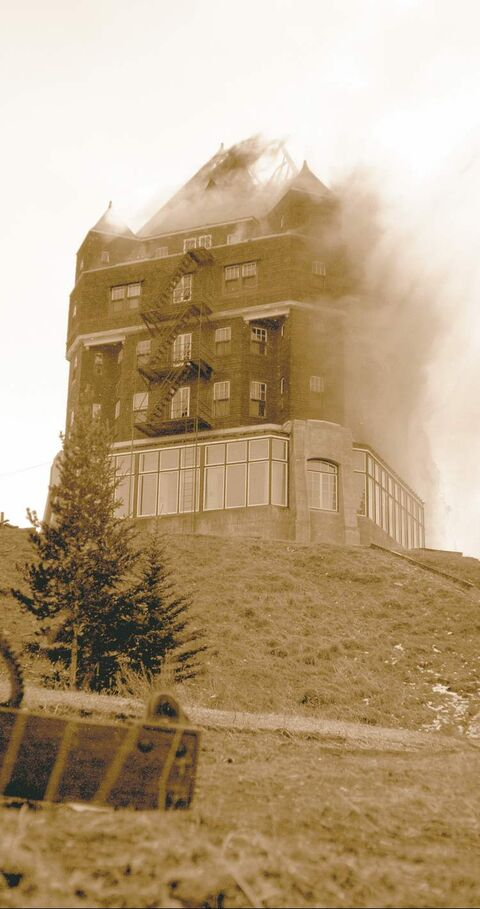 The original four-storey wooden chalet had 250 rooms that cost $3.50 a night. It burned to the ground on April 7, 1926