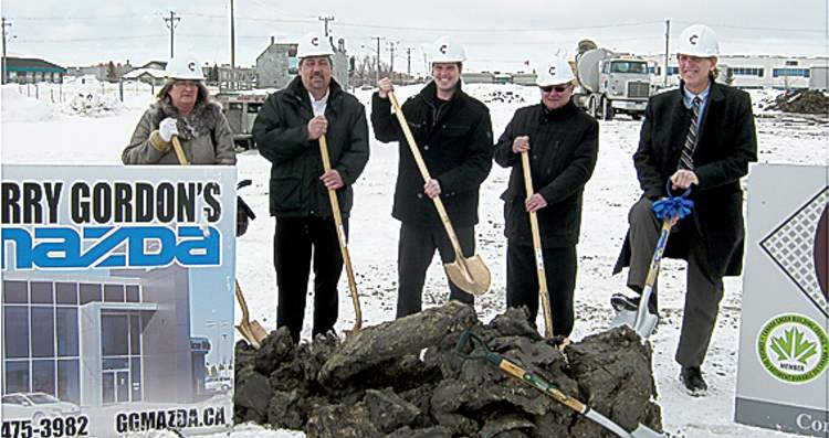 From left, Sandy Spence, Gerry Gordon Mazda controller, Mazda Canada representative Al Harvey, Rod Gordon (used car manager), Pat McAvoy (general manager), Gerry Gordon at a groundbreaking ceremony.
