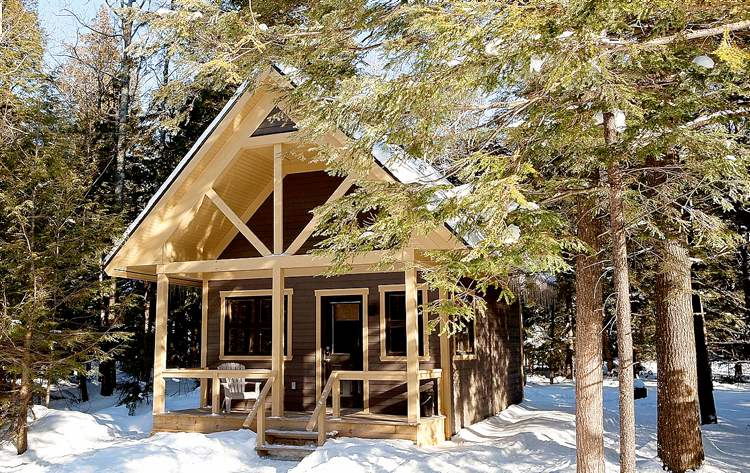 One of the new nature chalets offered by Quebec's provincial parks authority Sepaq for overnight stays in four of their parks. This is the Catchpaw Cabin in Mont Orford provincial park.