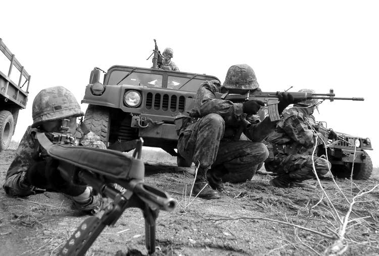 South Korean and American soldiers take part in military exercises south of Seoul.