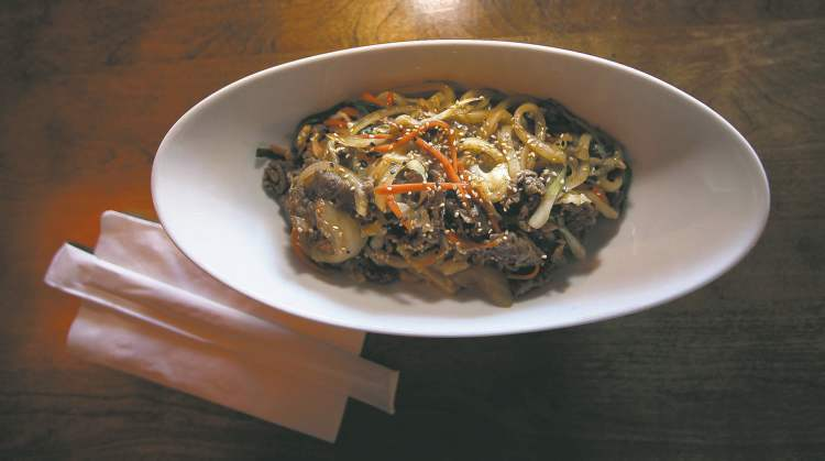Beef yaki udon with thick chewy noodles and tender beef