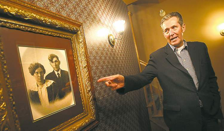 A photo of Pallister's grandparents hangs in his home in Portage la Prairie.