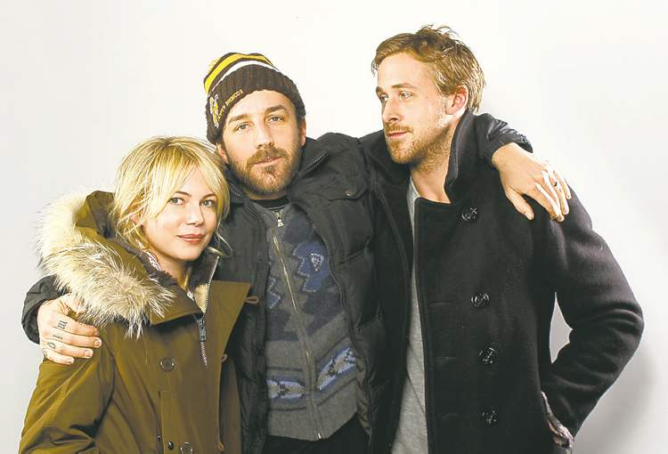 Actress Michelle Williams, director Derek Cianfrance and actor Ryan Gosling, right, of the film Blue Valentine, pose for a portrait at the Gibson Guitar Lounge during the Sundance Film Festival in Park City, Utah on Sunday, January 25, 2010.  (AP Photo/Carlo Allegri)