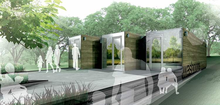 Three large shipping containers are being converted into public washrooms at Assiniboine Park.