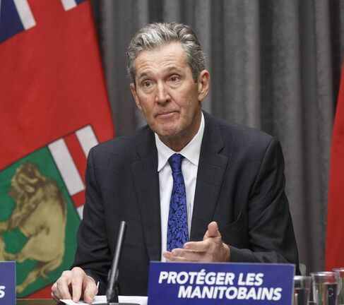 Premier Brian Pallister speaks during a COVID-19 update Tuesday morning at the Manitoba Legislative building.