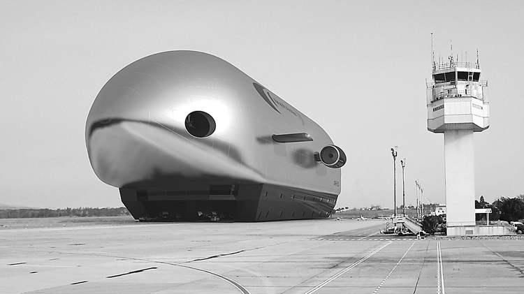 An artist's conception of an ARH-50 airship parked at an airport.