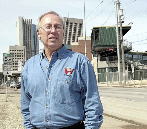 2002 photo of Winnipeg Goldeyes owner Sam Katz outside Shaw Park.