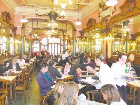At the Majestic in the Santo Ildefonso neighbourhood of Porto, Portugal, the coffee's great and so is the decor.
