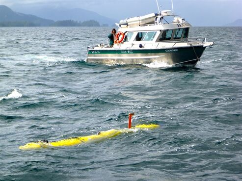 The University of Victoria's Bluefin-12S AUV is shown in Juan Perez Sound with a Gwaii Haanas National Park Reserve vessel in the background in a handout photo.THE CANADIAN PRESS/HO-University of Victoria