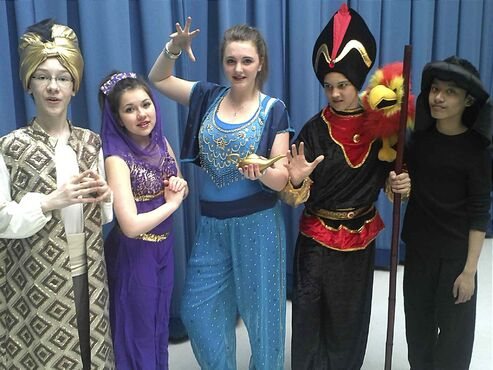 From left to right: Mitchel Grindean (Sultan), Victoria Turko (Jasmine), Emerson Martin (Genie), Nic Dutka (Jafar), and C.J. Moreno (Iago) are busy preparing to appear in Disney's Aladdin Jr. at Highbury School on Tues., April 22 and Wed., April 23.