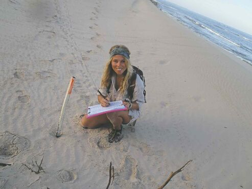 University of Manitoba master's student and former Fort Garry local Bailey Rankine collects data on the beach of Gnaraloo station in Western Australia. She is currently working on a sea turtle conservation project in the area.