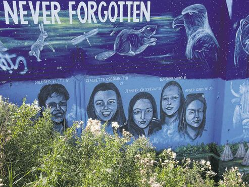 Among Wolseley's monuments to women's history in Canada is the mural on the east side of the CP rail overpass at Portage Avenue near Empress Street, that remembers 10 missing or murdered aboriginal Manitobans.