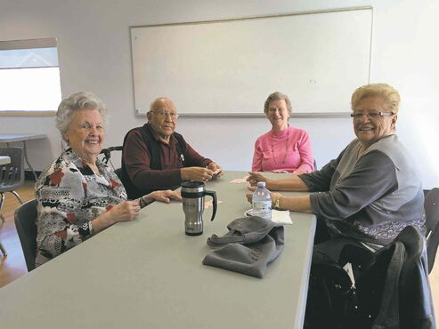 March 26, 2015 - Local seniors take part in a round of crib at the Good Neighbours Active Living Centre. (SHELDON BIRNIE/CANSTAR COMMUNITY NEWS/THE HERALD)