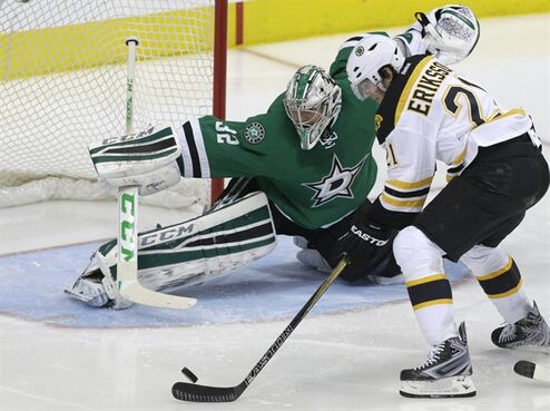 Dallas Stars goalie Kari Lehtonen (32) defends the goal against Boston Bruins left wing Loui Eriksson (21) during the second period of an NHL hockey game Tuesday, Jan. 20, 2015, in Dallas. (AP Photo/LM Otero)