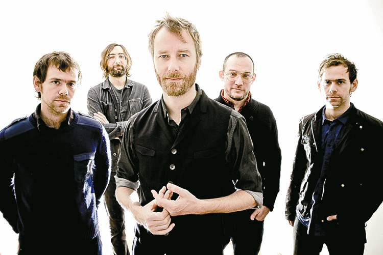 The National, from left, Aaron Dessner, Bryan Devendorf, Matt Berninger, Scott Devendorf, Bryce Dessner are shown.