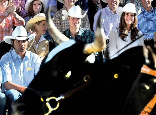 The Duke and Duchess of Cambridge watch the annual Calgary Stampede parade in Calgary during the last leg of their Canadian tour.