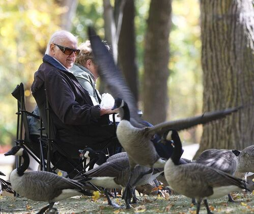 Merv Pollock and Joanne enjoy feeding the geese in St. Vital Park enjoying a lovely fall day in Winnipeg. Monday, September 24, 2012    (JOE BRYKSA / WINNIPEG FREE PRESS)