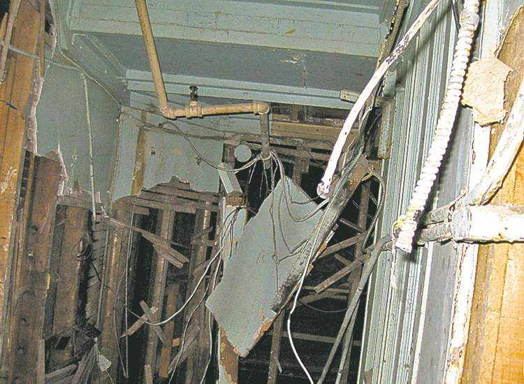 The inside of the St. Charles Hotel is in a state of chaos,