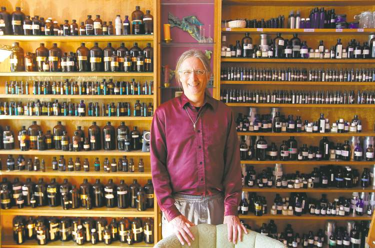 Michael O'Malley uses dozens of special oils that he combines to make someone's personal fragrance, which he keeps on file for future refills.