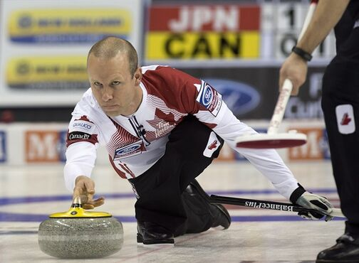 Team Canada skip Pat Simmons releases a rock as they play Japan at the men's world curling championships in Halifax on Tuesday, March. 31, 2015. THE CANADIAN PRESS/Andrew Vaughan