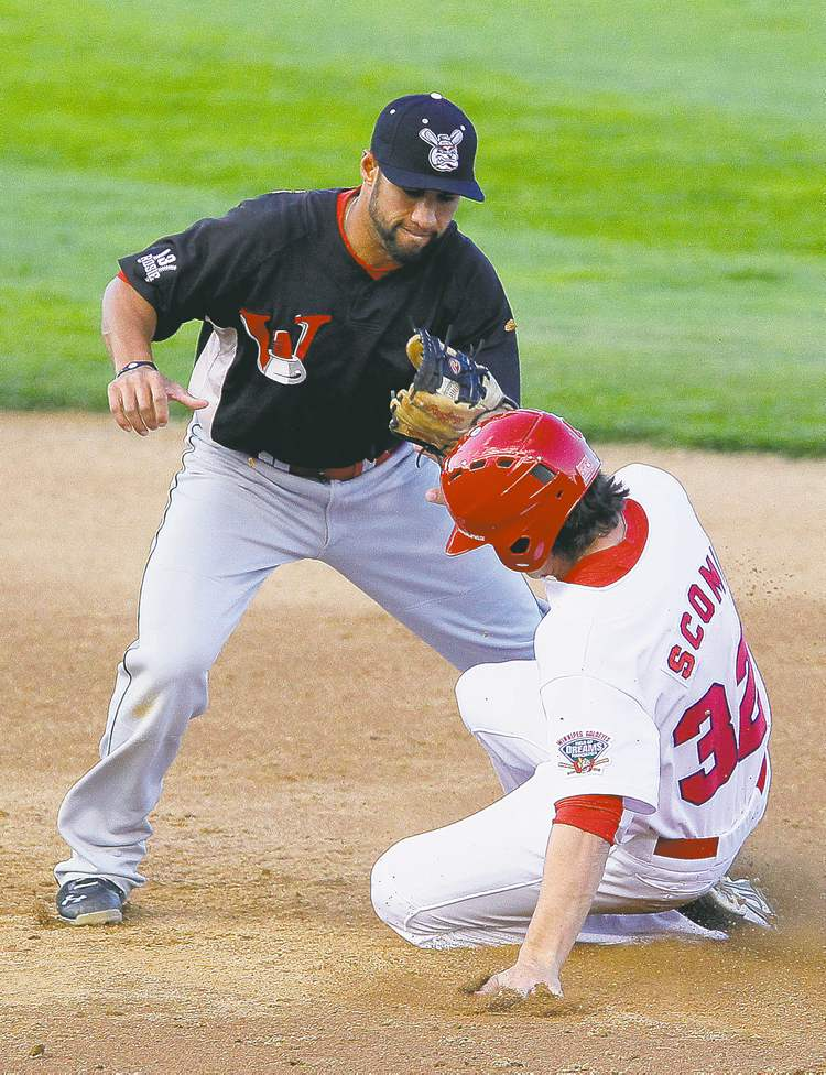 Winnipeg Goldeyes' Ryan Scoma beats the tag by Wichita Wingnuts' Jake Kahaulelio at second base Monday at Shaw Park.