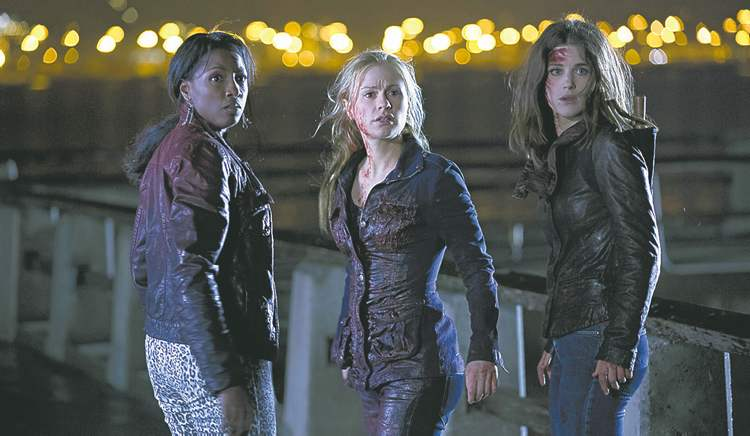 From left, Rutina Wesley, Anna Paquin and Lucy Griffiths in True Blood.