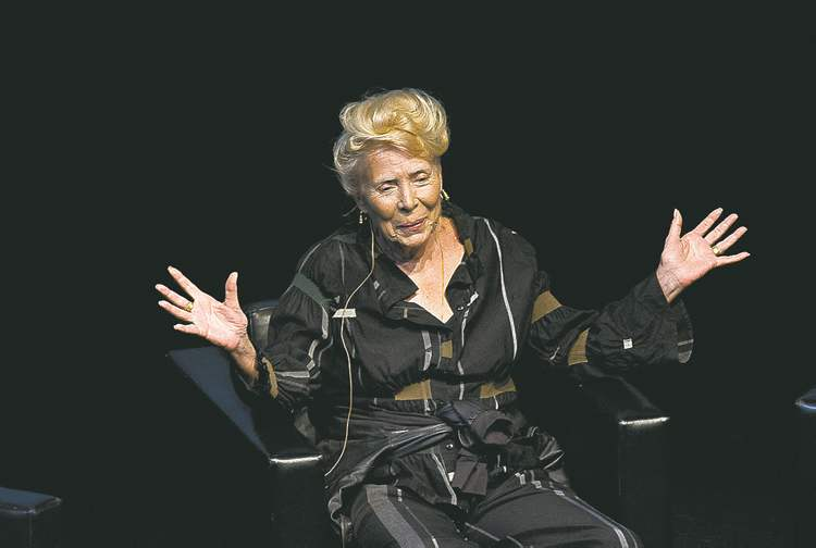 Joni Mitchell takes part in a Q&A as part of the Luminato festival in Toronto.