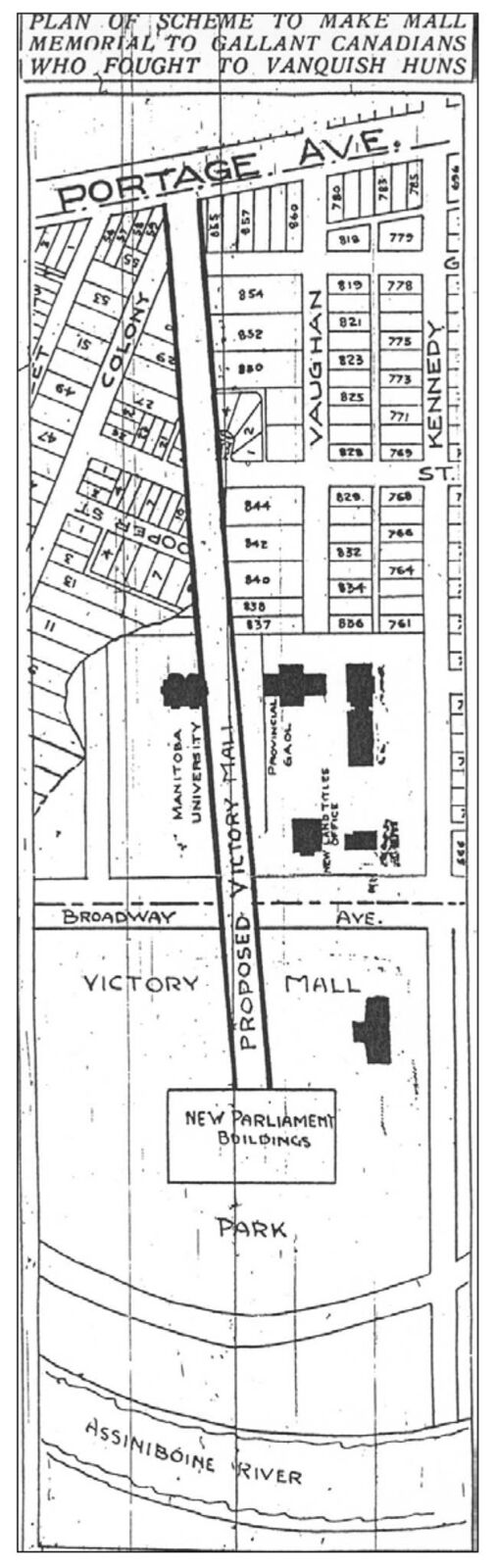 A plan showing the three-degree angle of Memorial Boulevard.