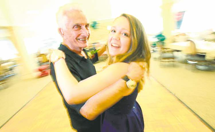 Brittany tears up the dance floor with her grandfather, Myer Silverstein.