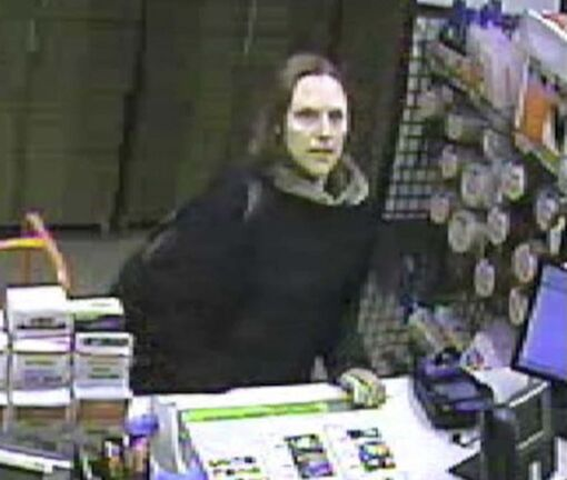 Surveillance footage of Andrea Giesbrecht from the McPhillips Street U-Haul. Staff discovered the remains of six babies in a storage unit rented by Giesbrecht in October 2014 after she didn't pay the rental fee. </p>
