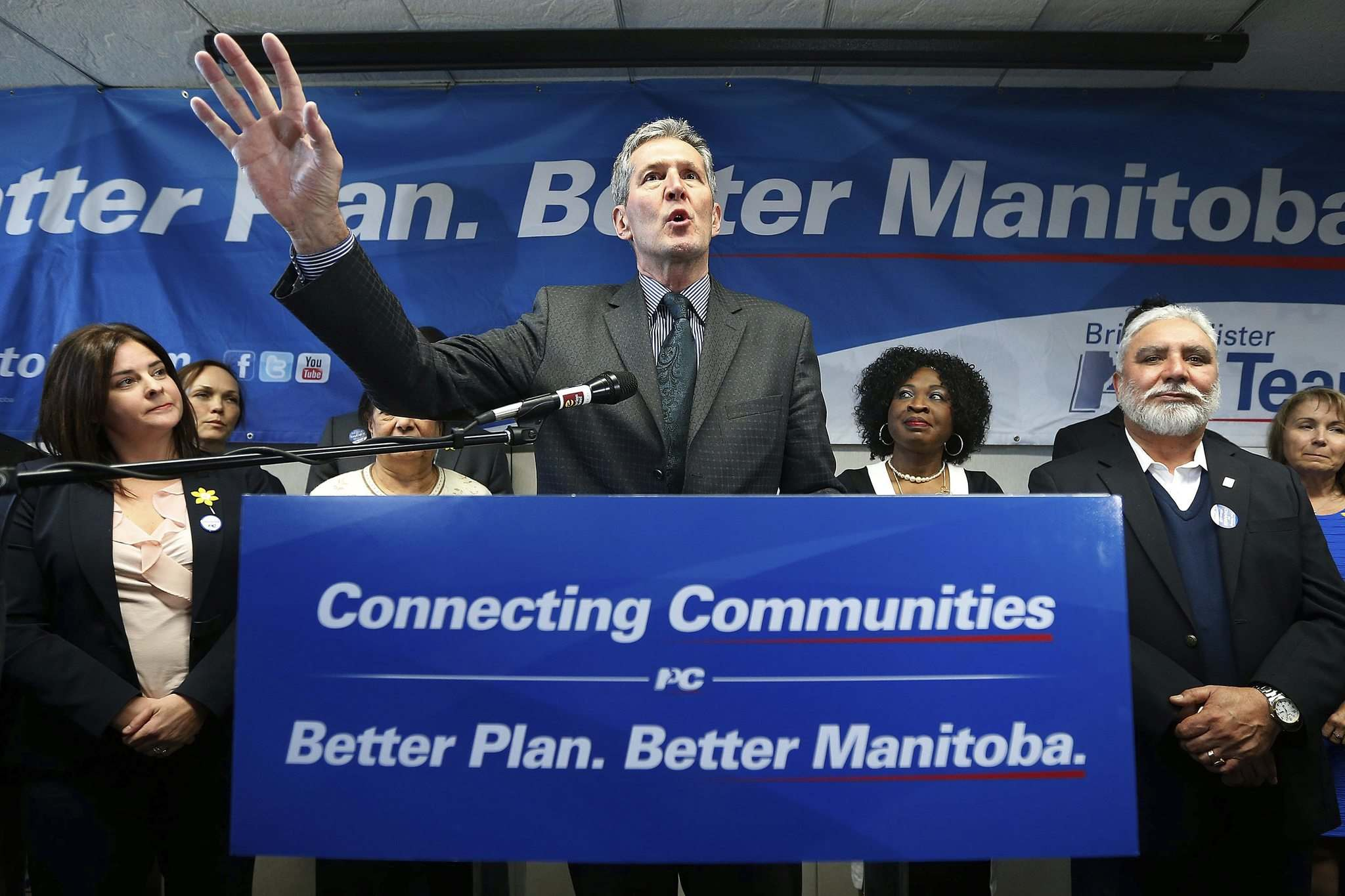 JOHN WOODS / WINNIPEG FREE PRESS</p><p>Manitoba PC leader Brian Pallister addresses supporters at a party rally in a Winnipeg hotel Monday.</p>