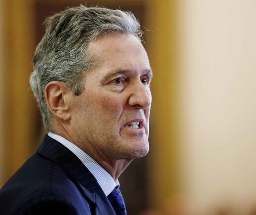 Manitoba Premier Brian Pallister speaks during his cabinet shuffle at the Manitoba Legislature in Winnipeg on Wednesday.