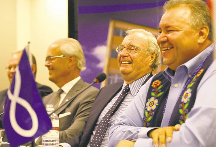 David Chartrand (from right), Paul Martin, Hartley Richardson and Sanford Riley at Wednesday's announcement.