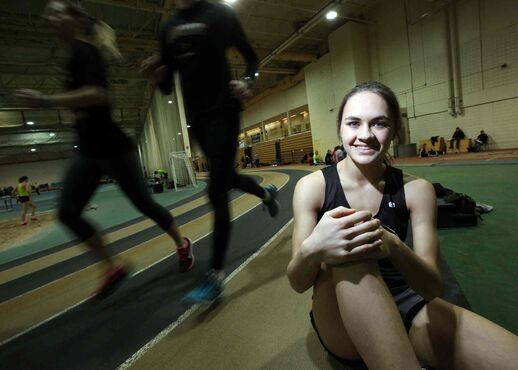 Victoria Tachinski, a 15-year-old Vincent Massey student, appears to have a very bright future on the track.